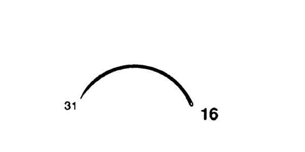 Picture of 31mm, 3/8 Circle Taper Point Suture Needle - Style 106-16